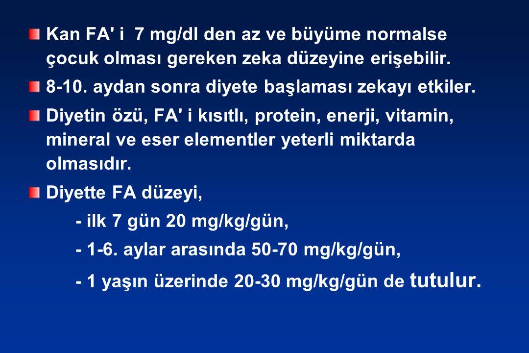 Kan FA i 7 mg/dl den az ve büyüme normalse çocuk olması gereken zeka düzeyine erişebilir.