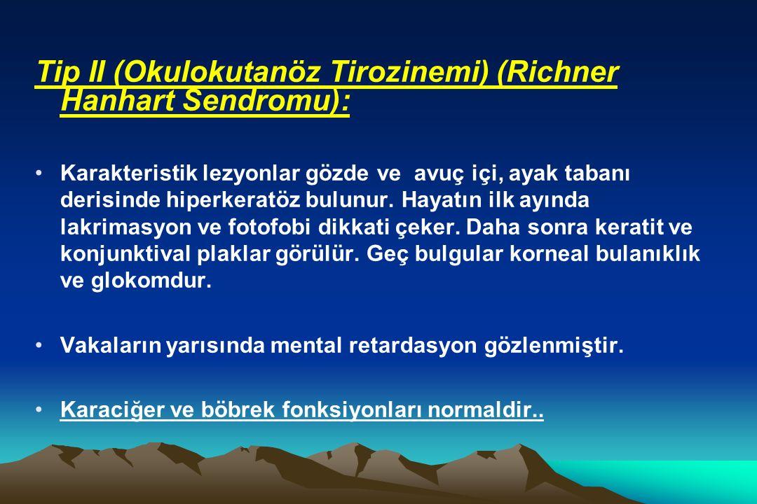 Tip II (Okulokutanöz Tirozinemi) (Richner Hanhart Sendromu):