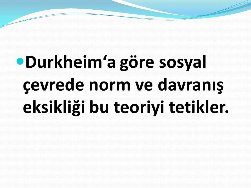 Durkheim'a göre sosyal çevrede norm ve davranış eksikliği bu teoriyi tetikler.