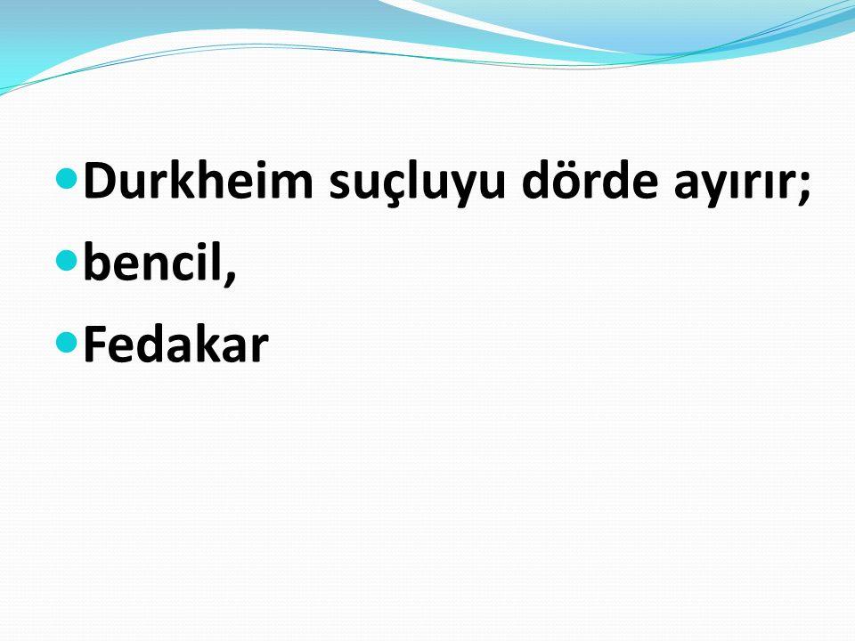 Durkheim suçluyu dörde ayırır;
