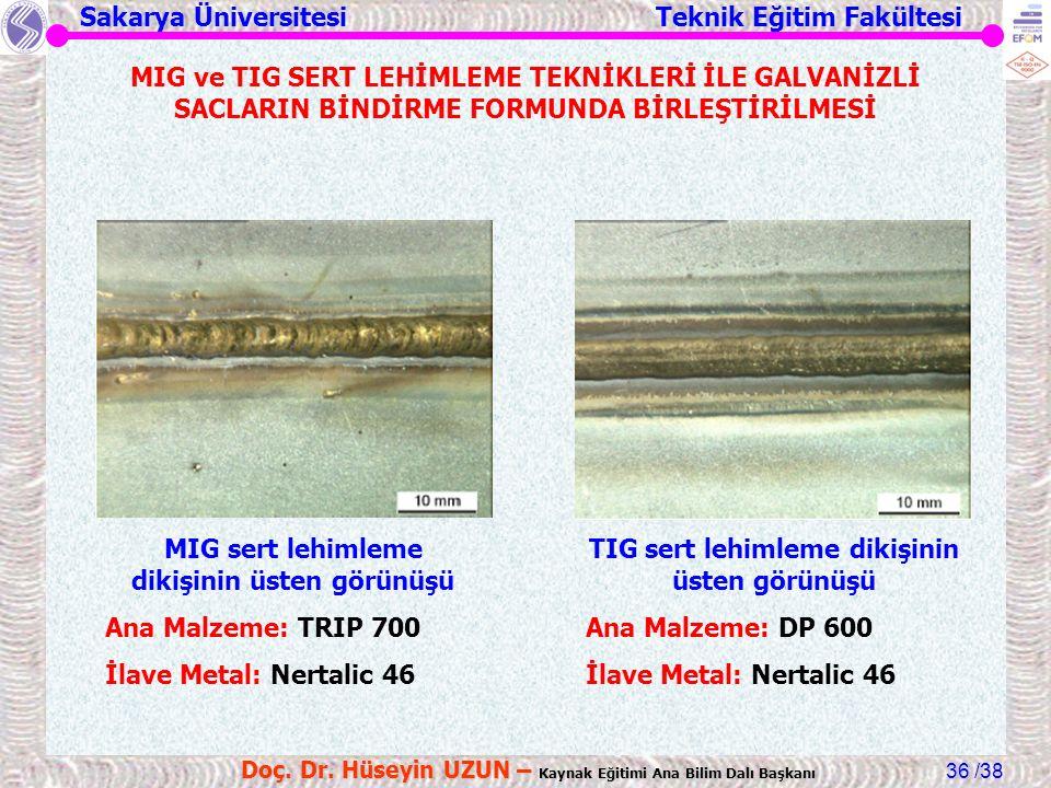 MIG sert lehimleme dikişinin üsten görünüşü Ana Malzeme: TRIP 700