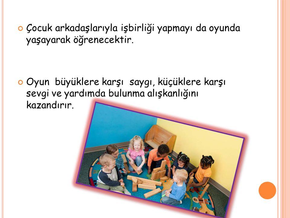 Çocuk arkadaşlarıyla işbirliği yapmayı da oyunda yaşayarak öğrenecektir.