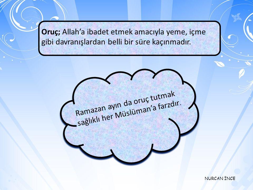 Oruç; Allah'a ibadet etmek amacıyla yeme, içme gibi davranışlardan belli bir süre kaçınmadır.