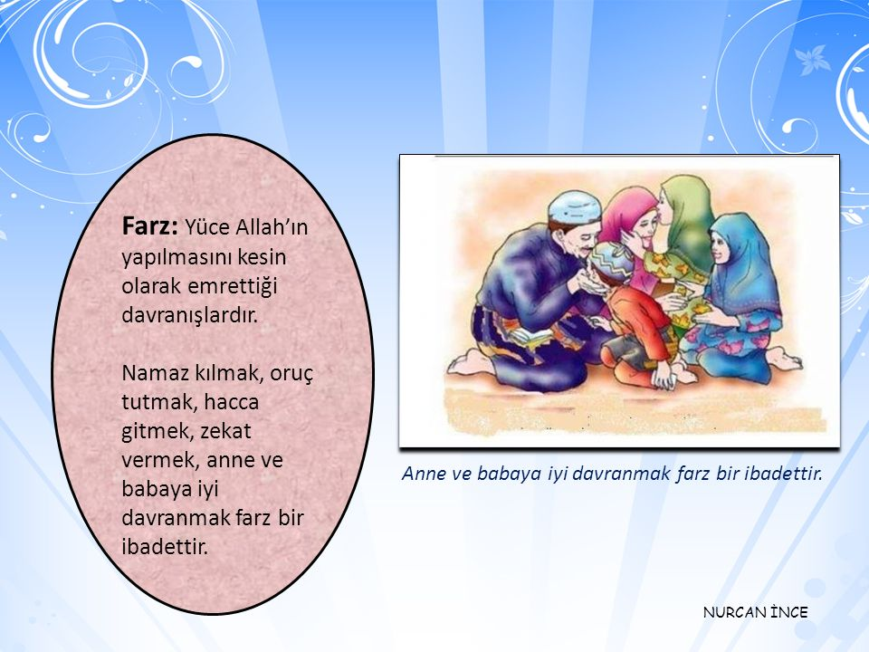 Farz: Yüce Allah'ın yapılmasını kesin olarak emrettiği davranışlardır.