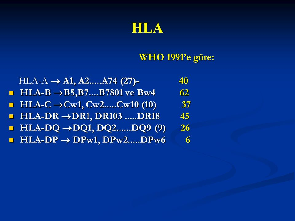 HLA WHO 1991'e göre: HLA-A  A1, A2.....A74 (27)- 40
