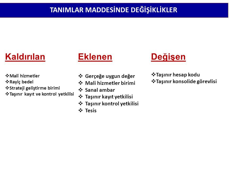 TANIMLAR MADDESİNDE DEĞİŞİKLİKLER