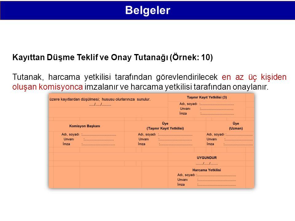 Belgeler Kayıttan Düşme Teklif ve Onay Tutanağı (Örnek: 10)