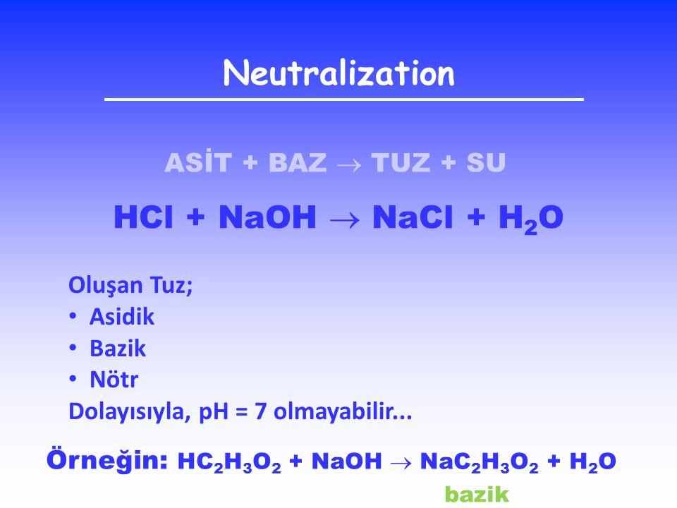 Neutralization HCl + NaOH  NaCl + H2O ASİT + BAZ  TUZ + SU