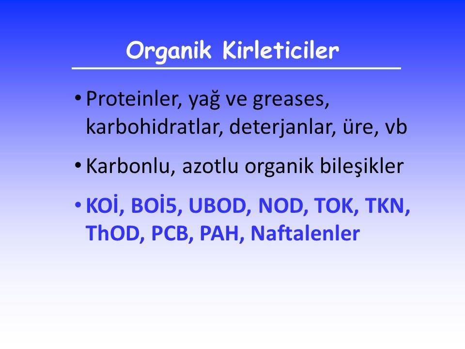 Organik Kirleticiler Proteinler, yağ ve greases, karbohidratlar, deterjanlar, üre, vb. Karbonlu, azotlu organik bileşikler.