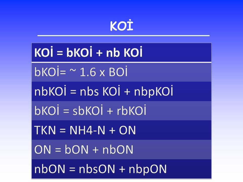 KOİ = bKOİ + nb KOİ bKOİ= ~ 1.6 x BOİ nbKOİ = nbs KOİ + nbpKOİ