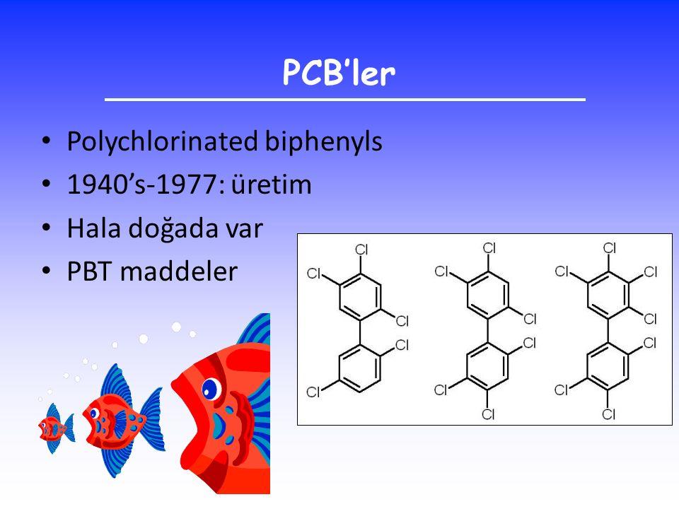 PCB'ler Polychlorinated biphenyls 1940's-1977: üretim Hala doğada var