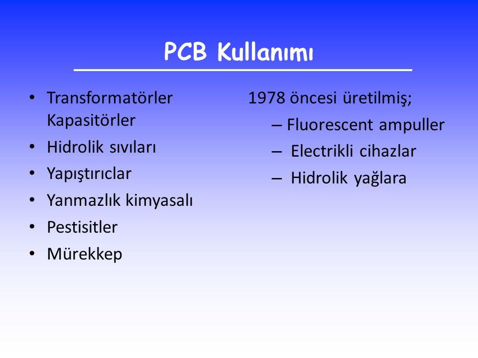 PCB Kullanımı Transformatörler Kapasitörler Hidrolik sıvıları