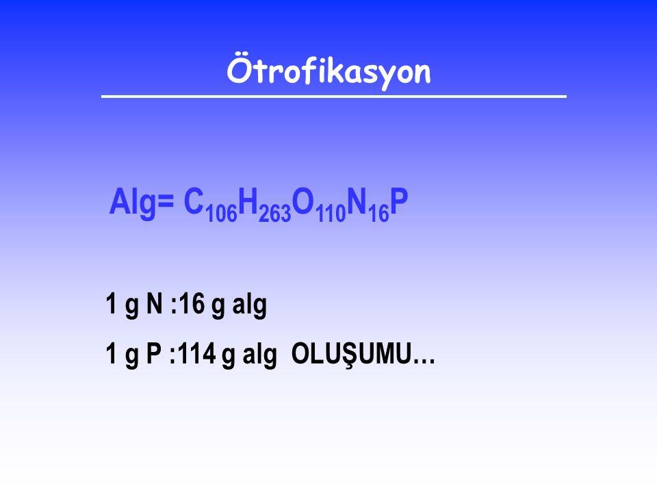 Alg= C106H263O110N16P Ötrofikasyon 1 g N :16 g alg