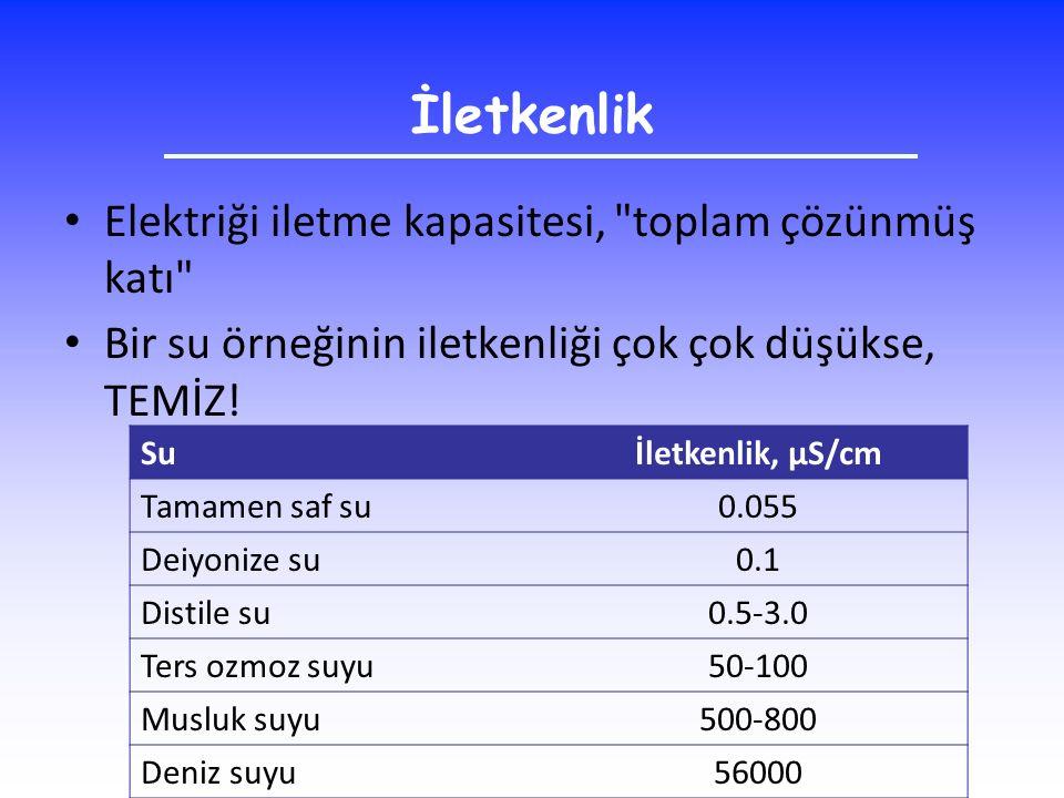 İletkenlik Elektriği iletme kapasitesi, toplam çözünmüş katı