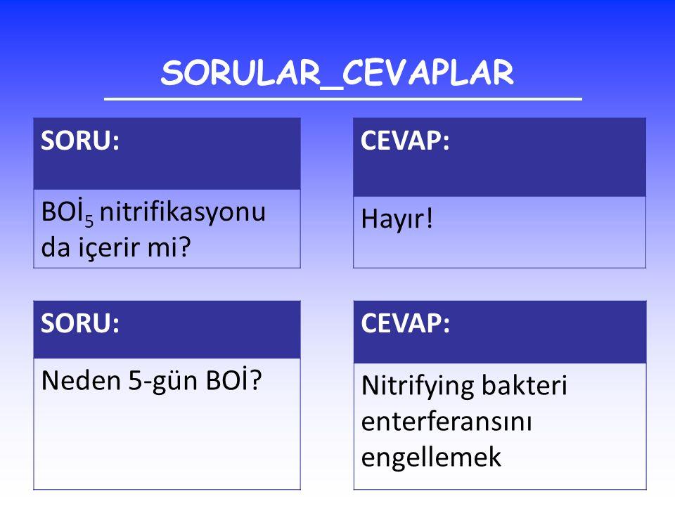 SORULAR_CEVAPLAR SORU: BOİ5 nitrifikasyonu da içerir mi CEVAP: Hayır!
