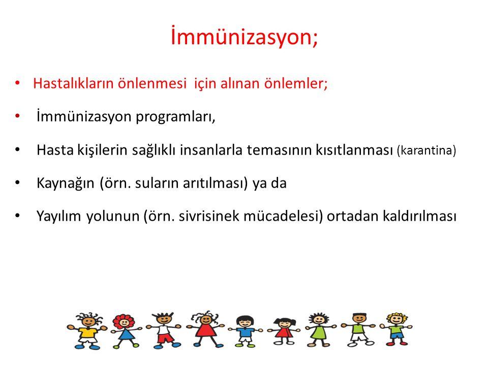 İmmünizasyon; Hastalıkların önlenmesi için alınan önlemler;