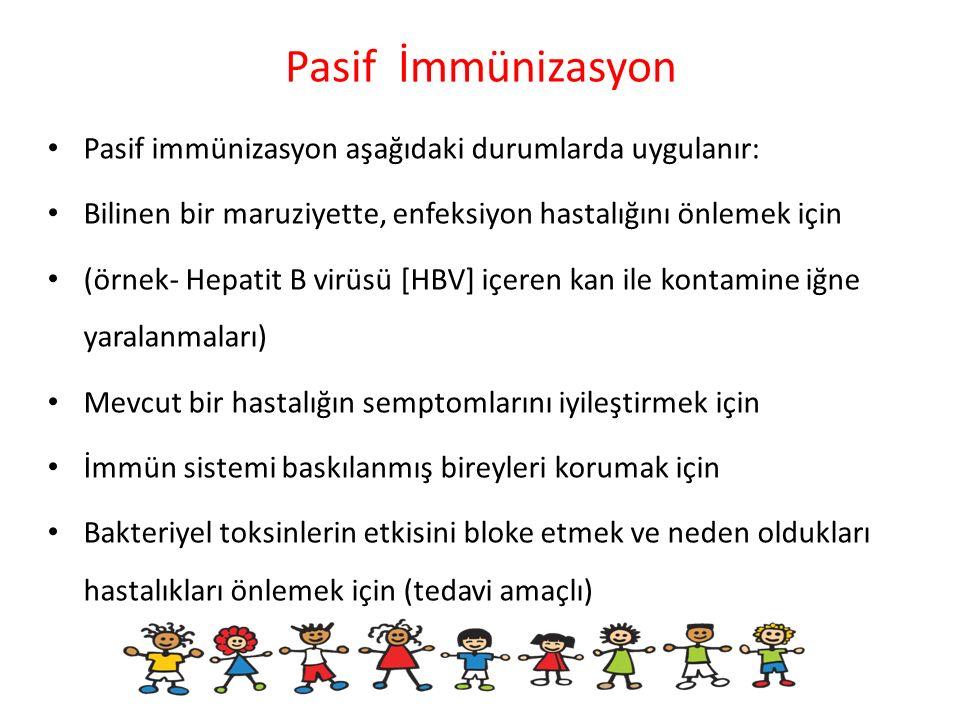 Pasif İmmünizasyon Pasif immünizasyon aşağıdaki durumlarda uygulanır:
