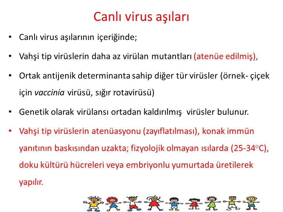 Canlı virus aşıları Canlı virus aşılarının içeriğinde;
