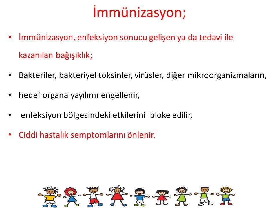 İmmünizasyon; İmmünizasyon, enfeksiyon sonucu gelişen ya da tedavi ile kazanılan bağışıklık;