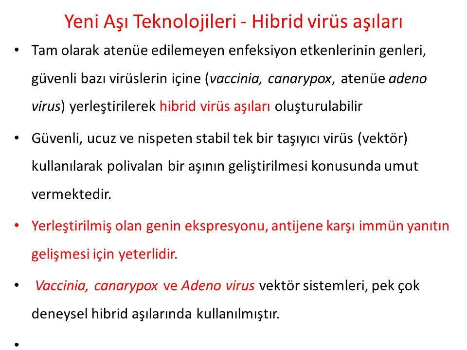Yeni Aşı Teknolojileri - Hibrid virüs aşıları