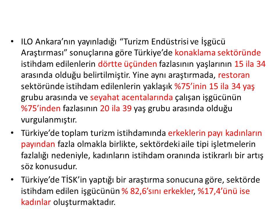 ILO Ankara'nın yayınladığı Turizm Endüstrisi ve İşgücü Araştırması sonuçlarına göre Türkiye'de konaklama sektöründe istihdam edilenlerin dörtte üçünden fazlasının yaşlarının 15 ila 34 arasında olduğu belirtilmiştir. Yine aynı araştırmada, restoran sektöründe istihdam edilenlerin yaklaşık %75'inin 15 ila 34 yaş grubu arasında ve seyahat acentalarında çalışan işgücünün %75'inden fazlasının 20 ila 39 yaş grubu arasında olduğu vurgulanmıştır.