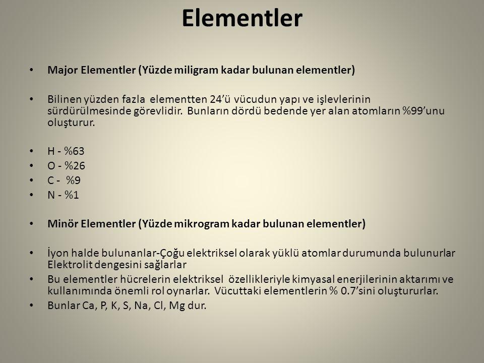 Elementler Major Elementler (Yüzde miligram kadar bulunan elementler)