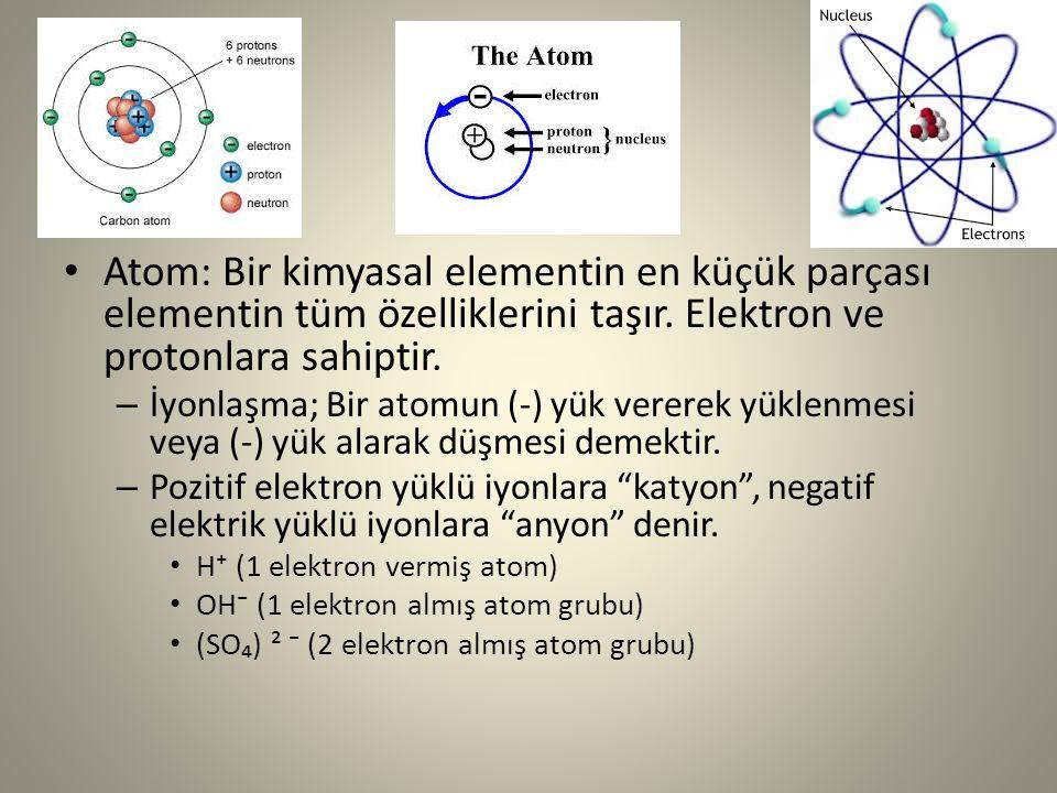 Atom: Bir kimyasal elementin en küçük parçası elementin tüm özelliklerini taşır. Elektron ve protonlara sahiptir.
