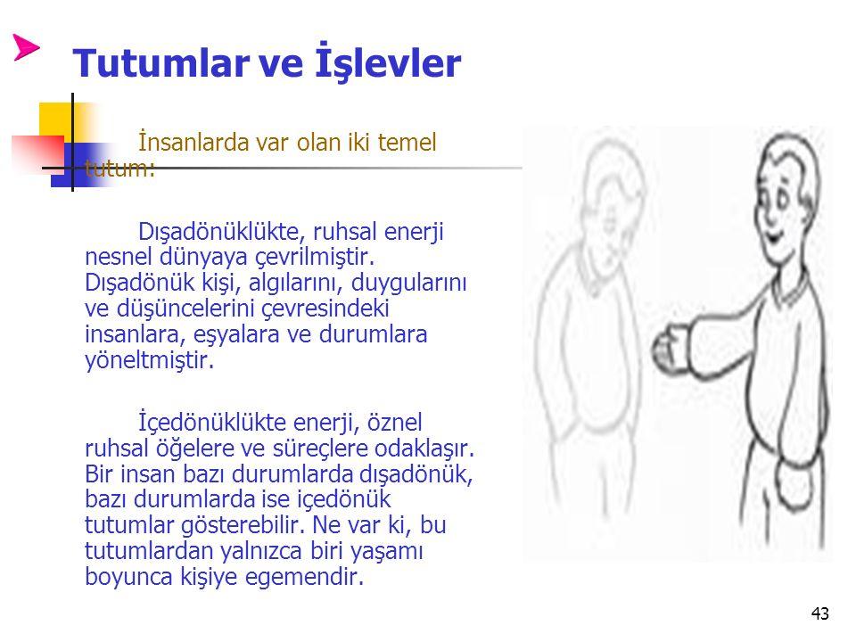 Tutumlar ve İşlevler İnsanlarda var olan iki temel tutum: