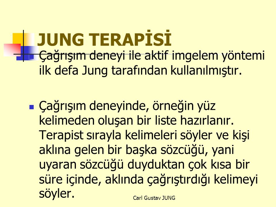 JUNG TERAPİSİ Çağrışım deneyi ile aktif imgelem yöntemi ilk defa Jung tarafından kullanılmıştır.