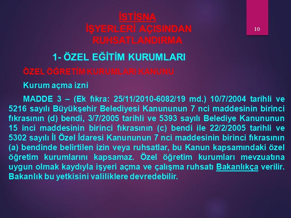 İSTİSNA İŞYERLERİ AÇISINDAN RUHSATLANDIRMA