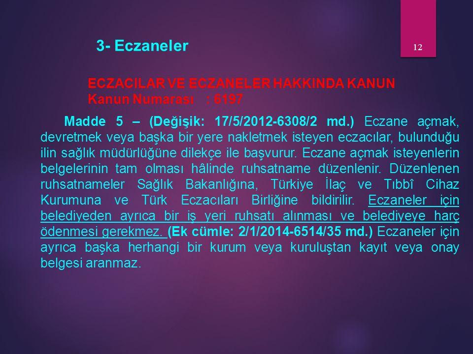 3- Eczaneler ECZACILAR VE ECZANELER HAKKINDA KANUN