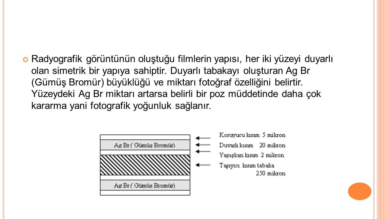 Radyografik görüntünün oluştuğu filmlerin yapısı, her iki yüzeyi duyarlı olan simetrik bir yapıya sahiptir.