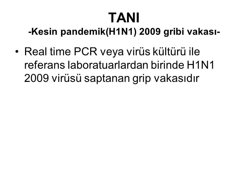 TANI -Kesin pandemik(H1N1) 2009 gribi vakası-