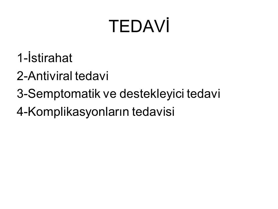 TEDAVİ 1-İstirahat 2-Antiviral tedavi