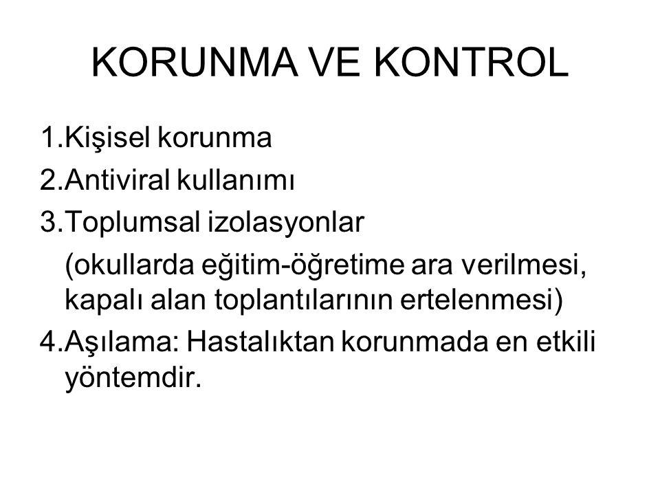 KORUNMA VE KONTROL 1.Kişisel korunma 2.Antiviral kullanımı