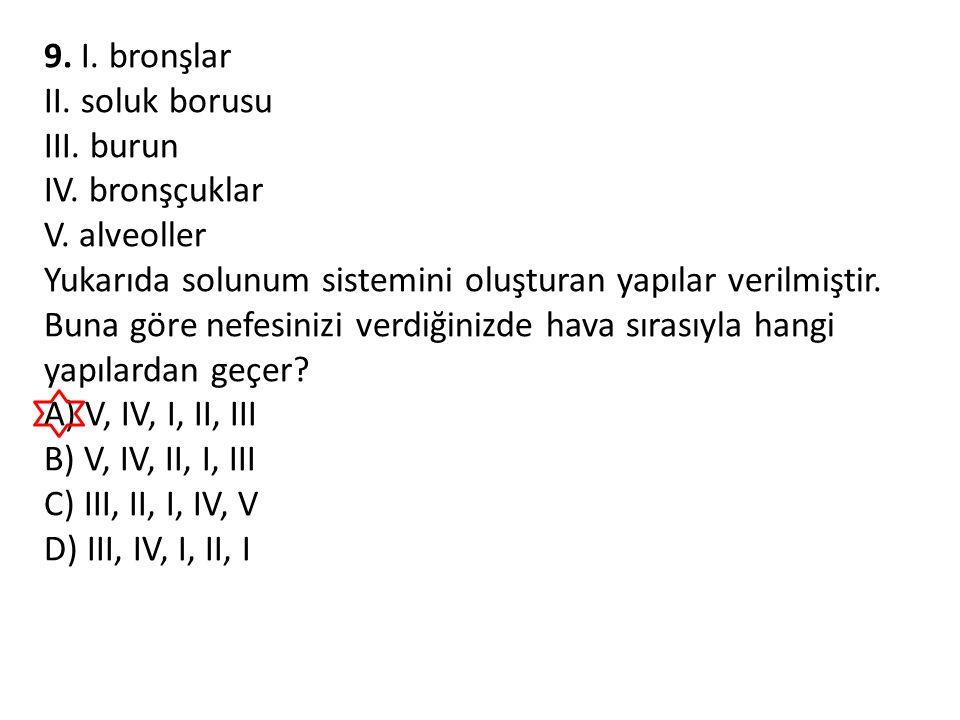 9. I. bronşlar II. soluk borusu. III. burun. IV. bronşçuklar. V. alveoller.