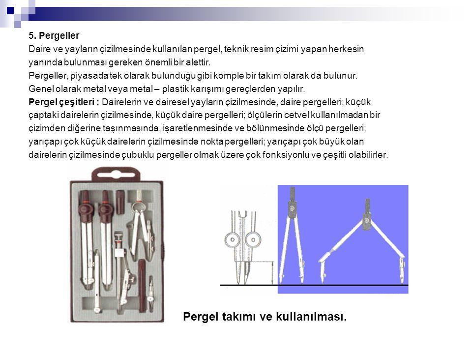 Pergel takımı ve kullanılması.