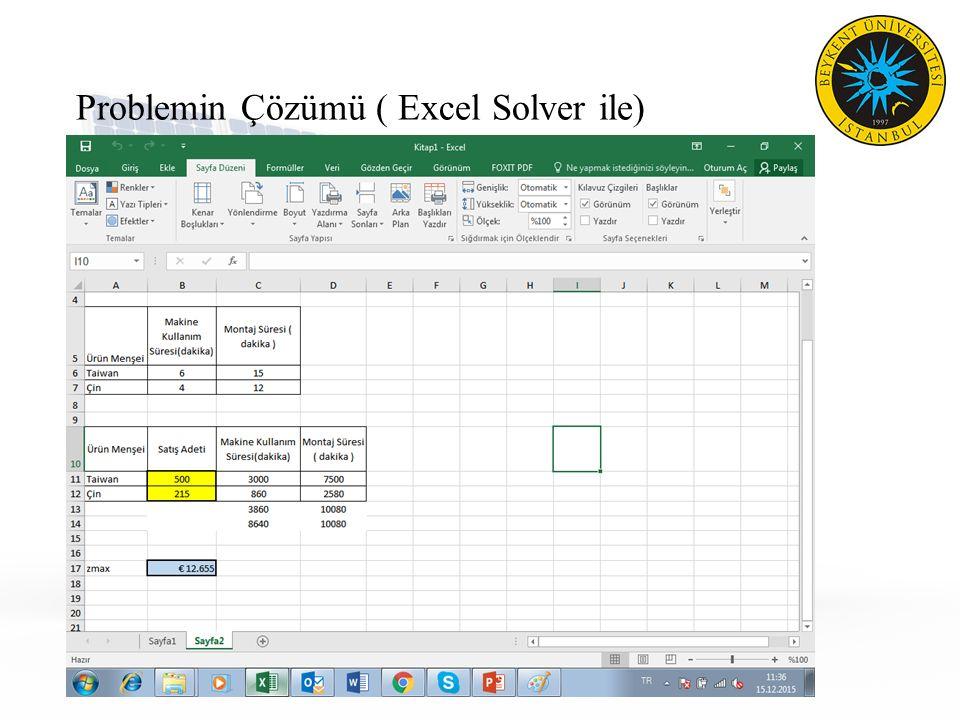 Problemin Çözümü ( Excel Solver ile)