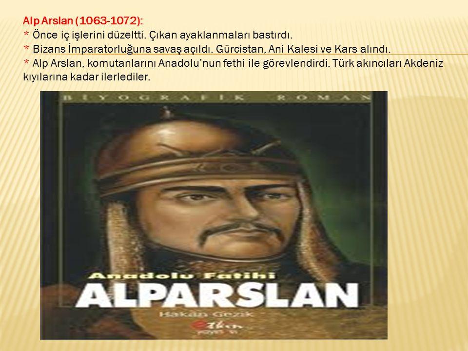 Alp Arslan (1063-1072):. Önce iç işlerini düzeltti