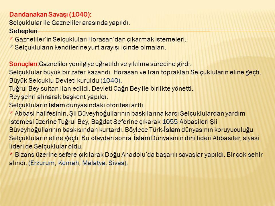 Dandanakan Savaşı (1040): Selçuklular ile Gazneliler arasında yapıldı