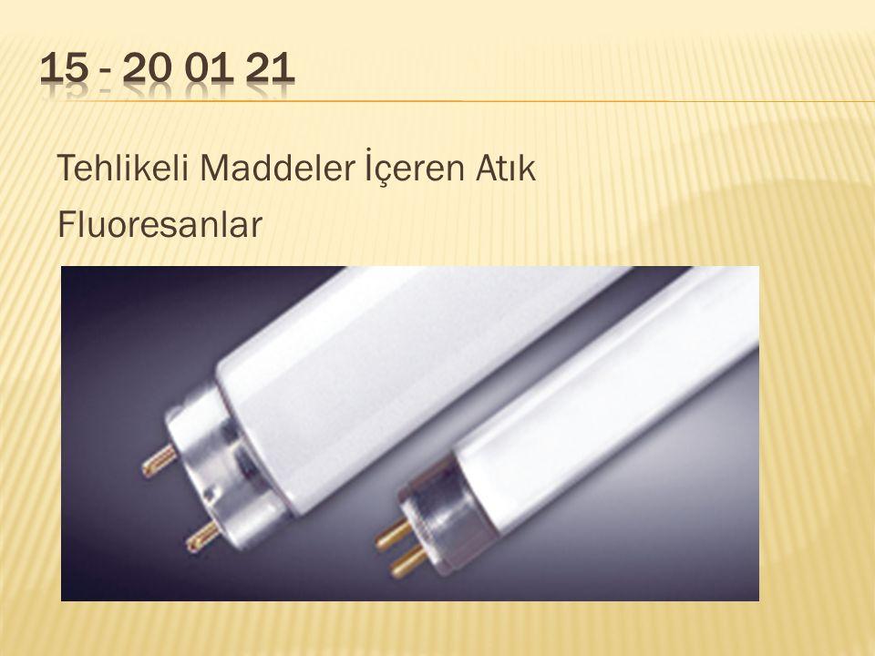15 - 20 01 21 Tehlikeli Maddeler İçeren Atık Fluoresanlar