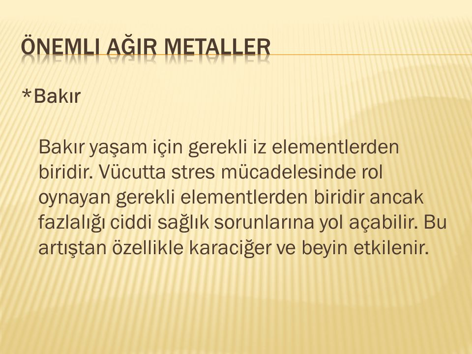 Önemli ağIr metaller