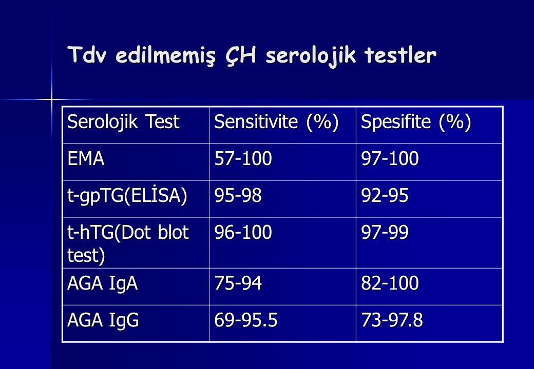 Tdv edilmemiş ÇH serolojik testler