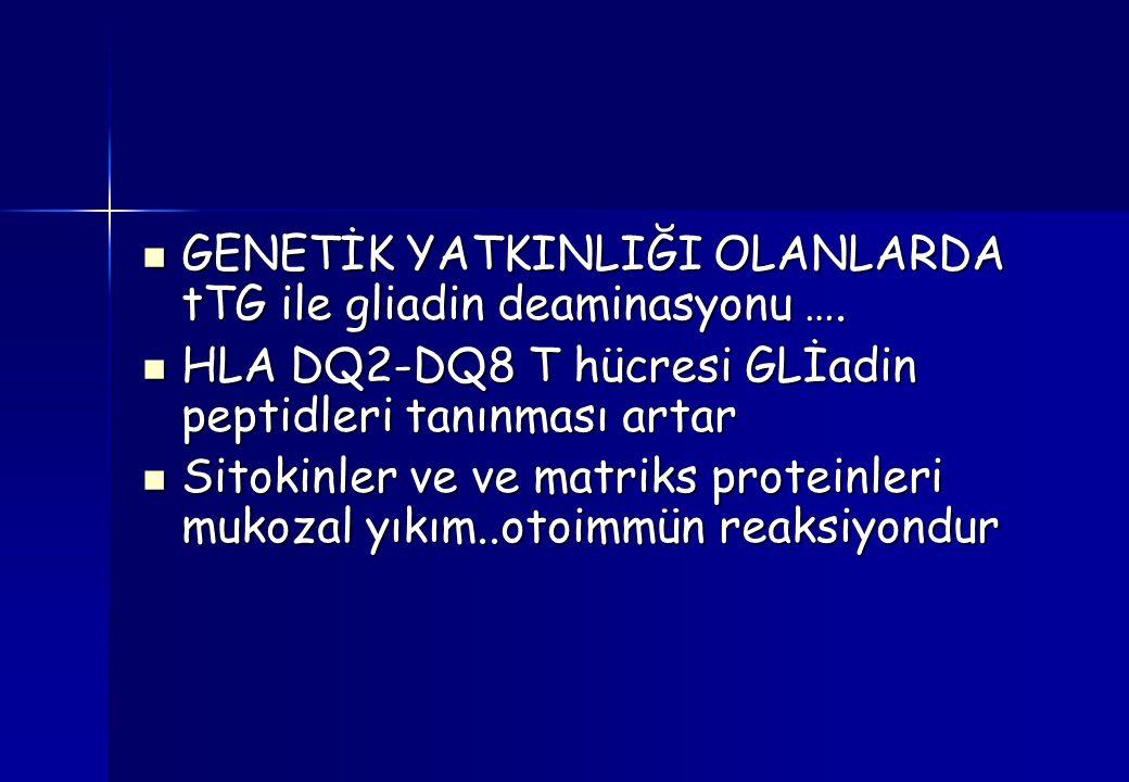 GENETİK YATKINLIĞI OLANLARDA tTG ile gliadin deaminasyonu ….