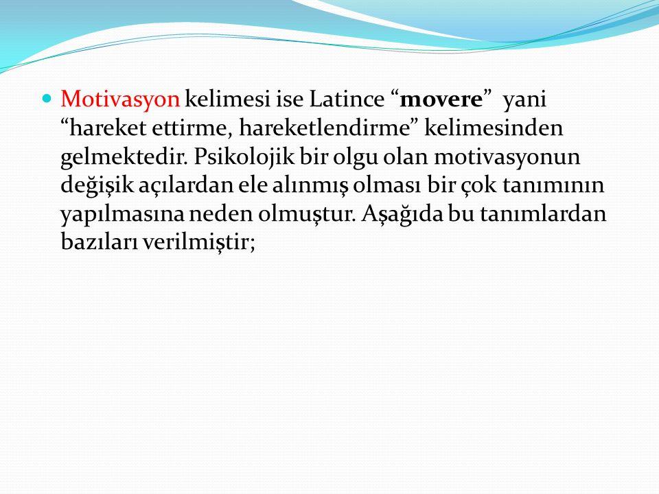 Motivasyon kelimesi ise Latince movere yani hareket ettirme, hareketlendirme kelimesinden gelmektedir.