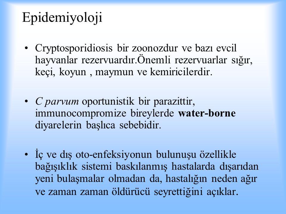 Epidemiyoloji Cryptosporidiosis bir zoonozdur ve bazı evcil hayvanlar rezervuardır.Önemli rezervuarlar sığır, keçi, koyun , maymun ve kemiricilerdir.