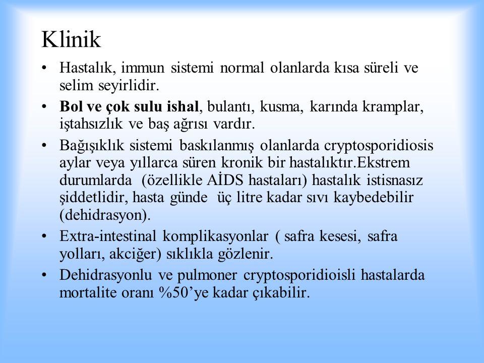 Klinik Hastalık, immun sistemi normal olanlarda kısa süreli ve selim seyirlidir.