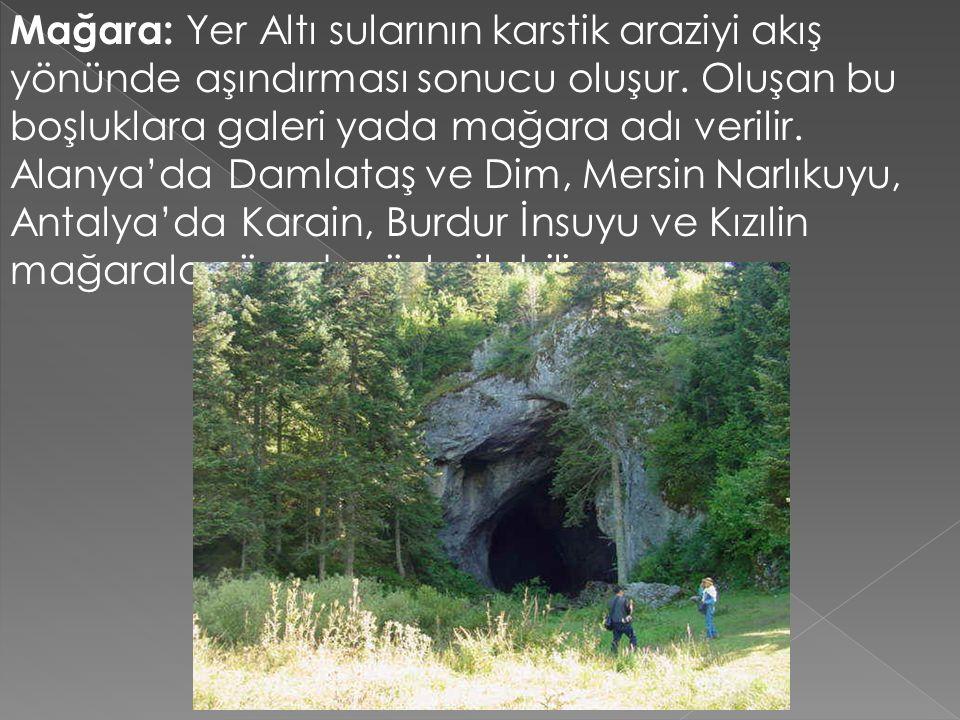Mağara: Yer Altı sularının karstik araziyi akış yönünde aşındırması sonucu oluşur.