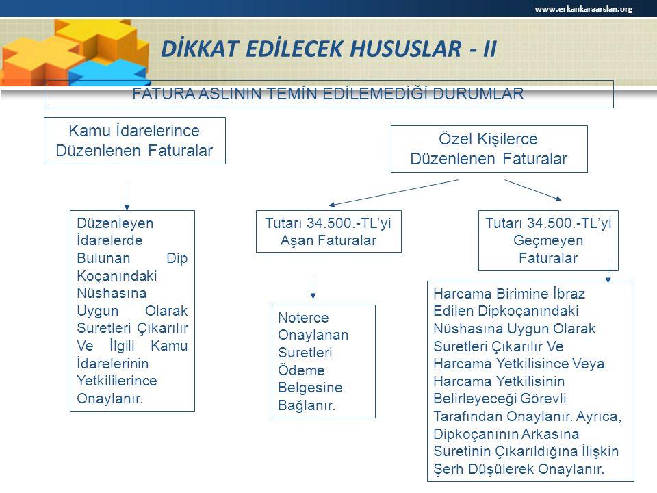 DİKKAT EDİLECEK HUSUSLAR - II