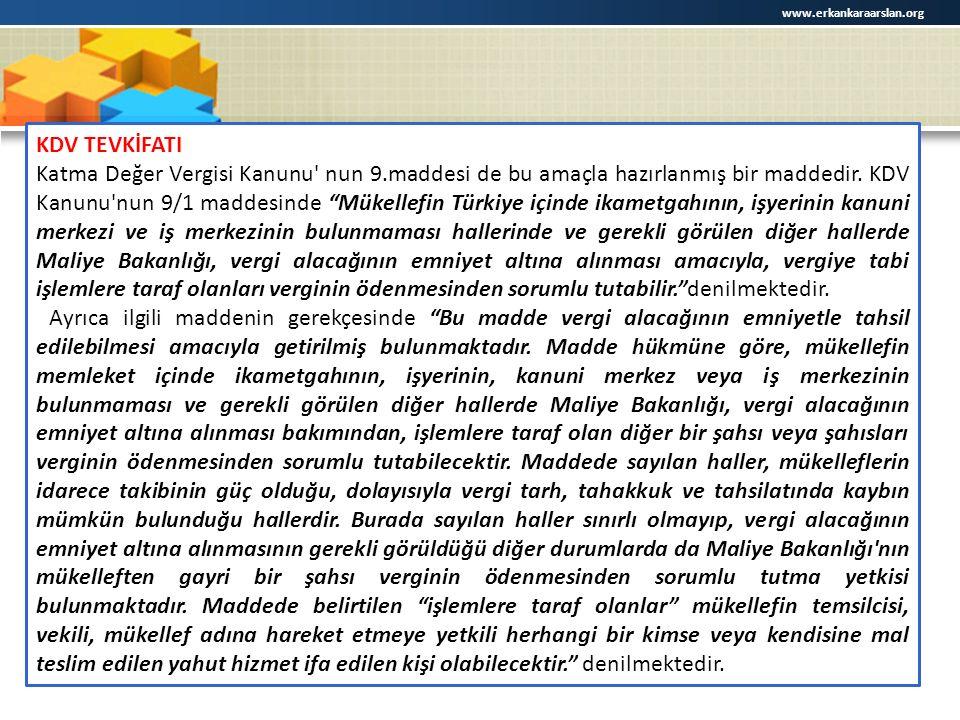 www.erkankaraarslan.org KDV TEVKİFATI.